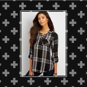 Maurices Metallic Plaid Top W/Lace Up Neck (L)